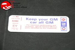 76 Camaro Keep Your Gm All Gm Air Cleaner Decal Ey 8995165