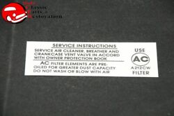 67-69 Camaro Chevelle 396-375hp Air Cleaner Service Instructions Decal