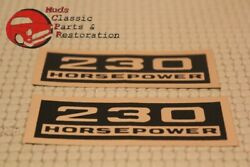 Chevy 230 Horsepower Black And Gold Valve Cover Decals Pair