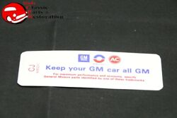69 70 71 Camaro 230/250hp Keep Your Gm All Gm Code Ce Decal