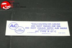 57 Chevy Belair 150 210 Corvette Fuel Injection Air Cleaner Decal