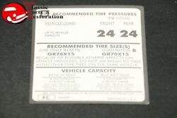 73 Monte Carlo Tire Pressure Decal Gr78x15 And Gr70x15 Tire Gm Part Fc 340581