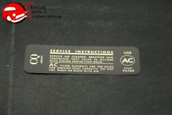 68 Camaro Impala 396-325hp 427-385hp Air Cleaner Service Instructions Decal
