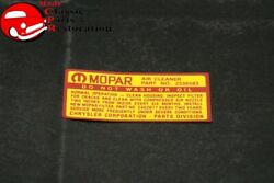65-66 Chrysler Imperial Air Cleaner Service Instructions Decal