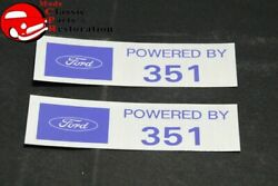 Ford Powered By 351 Valve Cover Decals - Set Of Two
