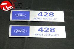 Ford Powered By Ford 428 Super-cobra-jet Valve Cover Decals Pair