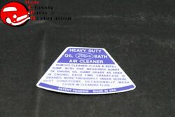 54 Ford Truck Air Cleaner Service Instructions Decal