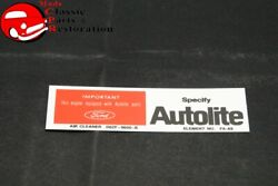 70 Ford Mustang Torino 250ci Autolite Replacement Parts Decal Part Dozf-9600-b