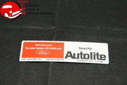71 Early Mustang W/o Ram Air Autolite Service Instructions Decal