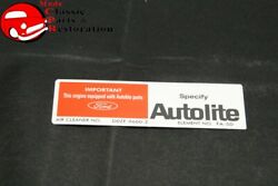 70 Mustang Early 351w W/o Ram Air Autolite Air Cleaner Service Instruction Decal