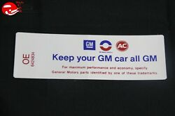 68 Oldsmobile 350 Hi-po Keep Your Gm All Gm Air Cleaner Decal