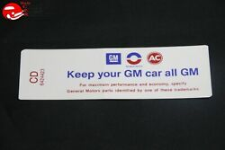 68 Oldsmobile 6 Cylinder Engine Keep Your Gm All Gm Air Cleaner Decal