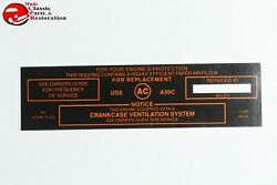 64 65 Pontiac Tri-power Air Cleaner Service Instruction Decal Black Filter A59c