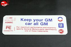 74 Pontiac Gto Keep Your Gm All Gm Air Cleaner Decal Part Pe 6488274
