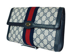 Authentic GUCCI GG Pattern PVC Canvas Leather Navy Blue Clutch Bag GP1951