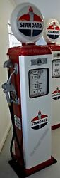 New Standard Replica Gas Pump - Antique Reproduction White And Red - Free Ship