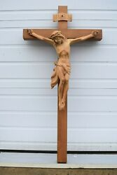 + Hand Carved Wood Crucifix + 51 1/2 Ht. + Made In Germany + Chalice Co. Fb3