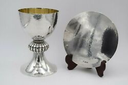 + Antique Tassilo Chalice And Paten Set + All Sterling Silver + Hand Made + Cu83