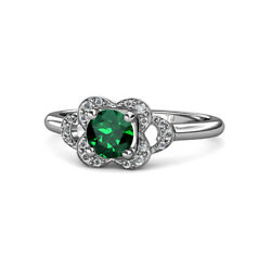 Emerald And Diamond Womens Floral Engagement Ring 0.94 Ctw 14k Gold Jp113515