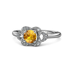 Citrine And Diamond Womens Floral Engagement Ring 0.90 Ctw 14k Gold Jp113510