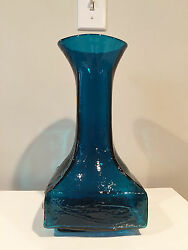 Indiana Handcraft Glass Large Vase With Fish Motif By Wayne Husted
