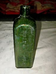 Old Green Glass Udolpho Wolfeand039s Schiedam Aromatic Schnapps Blob Top Bottle
