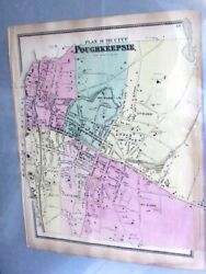 1868 Map City Of Poughkeepsie Dutchess County, Ny From Beers Atlas Hand Colored