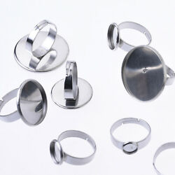 Stainless Steel Cabochon Setting Bezel Ring bases adjustable RingSize 17mm 20pcs