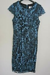 BADGLEY MISCHKA Collection Teal & Black Sequin Lace Cocktail Formal Dress Sz 4