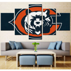 Chicago Bears Nation Football 5 Pcs Painting Printed Canvas Wall Art Home Decor