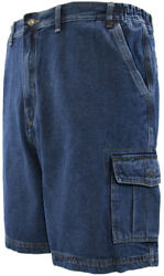 Big And Tall Menand039s Sizes 46 - 72 Denim Cargo Shorts By Full Blue
