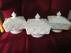 Lot Of 3 Westmoreland Old Quilt Milk Glass Covered Pedestal Candy Dishes W Lids