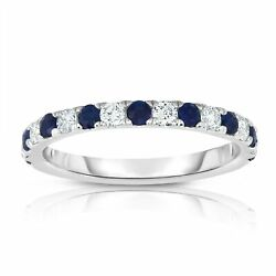 Noray Designs 14k White Gold Blue Sapphire and 13ct TDW Diamond Ring (G-H
