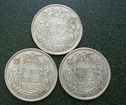3 - 1938 Canada 50 Cent Coins 80 Silver In Paper Envelopes
