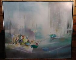 Walter Greer Rare Large Vintage Signed Twice 1976 Oil Painting Canvas 40 X 48