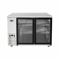 Atosa Usa Mbb59ggr 57 Two Section Back Bar Cooler With Glass Door 17.3 Cu. Ft.