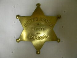 Prop Old West United States Deputy Marshal Badge Brass Heavy Scroll Work