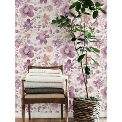 Removable Wallpaper Cute Pink And Purple Flowers Watercolor Self Adhesive Art