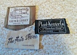 Vintage Kankakee Clothing Labels The Fair Store Plant-kerger Lueth And Cooley