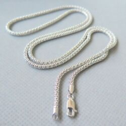 25.6inch New Pure 18k White Gold Necklace 2.5mmw Elegant Popcorn Link Chain 9.5g