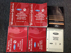 2007 FORD Explorer & Sport Trac Mountaineer Service Shop Manual Set W EWD + Tech