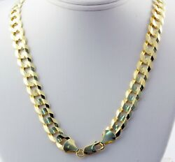 8.20mm 20 41 Gm 14k Solid Yellow Gold Menand039s Flat Cuban Necklace Chain Polished