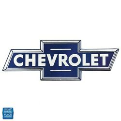 Chevrolet Blue White Bowtie Embossed Tin Man Cave 28 X 9.7