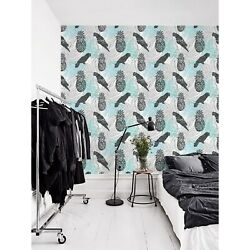 Ink Hand Drawn Jungle Removable Wallpaper Blue Mural Self Adhesive Peel And Stick
