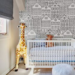 Doodle City Removable Wallpaper Funky Buildings Navy Drawing Minimalist Murals