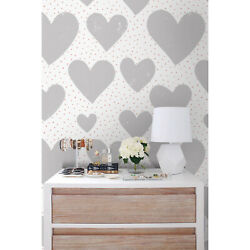 Hearts Love Dots Removable Wallpaper Cute Pattern Self-adhesive Peel And Stick