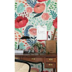 Poppies Wall Mural Vintage Floral Peel And Stick Traditional Removable Wallpaper