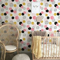 Cute Dots Removable Wallpaper Simple Wall Mural Geometric Decor Peel And Stick