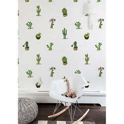 Removable Wallpaper Cute Cactus Pots Different Types Of Cacti Nursery Kids Room