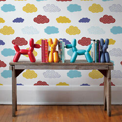 Removable Wallpaper Decor Colorful Clouds Patter Child-drawing Style Kids Room